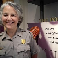 Helen McKenna-Uf, a park ranger at the Edgar Allan Poe National Historic Site in Philadelphia. (Alex Ashlock/Here & Now)