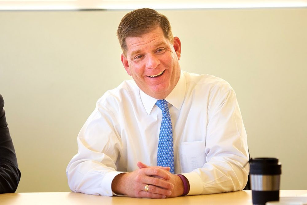 Boston Mayor Marty Walsh speaking at the WBUR studios in October 2015. (Jesse Costa/WBUR)