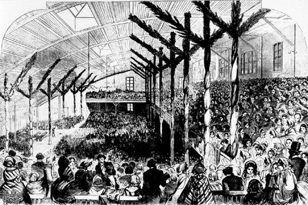 A sketch from Harpers' Weekly of the Wigwam interior during the  1860 Republican National Convention in Chicago, IL. (Creative Commons)