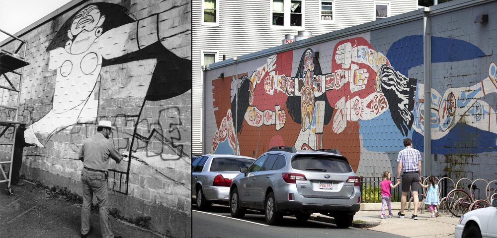 At left: Garcia paints the mural in 1984 and, at right, the mural now (Courtesy City of Boston Archives, Robin Lubbock/WBUR)