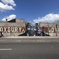 """Roxbury Love"" mural on Warren Street, Boston. (Joe Difazio for WBUR)"