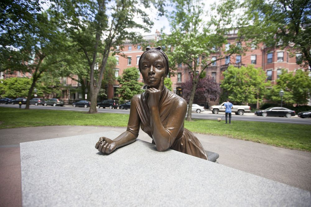 Statue of Phillis Wheatley is part of the Women's Memorial on the Commonwealth Ave Mall (Joe Difazio for WBUR)