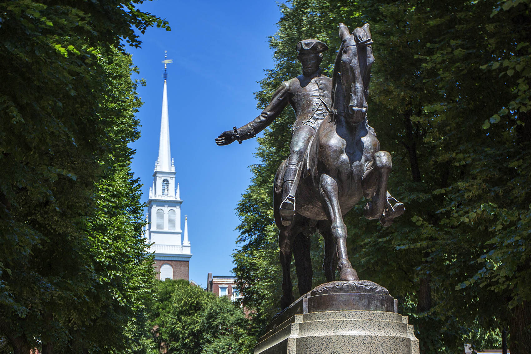The Paul Revere statue at the Paul Revere Mall riding away from the Old North Church in the North End of Boston. (Jesse Costa/WBUR)