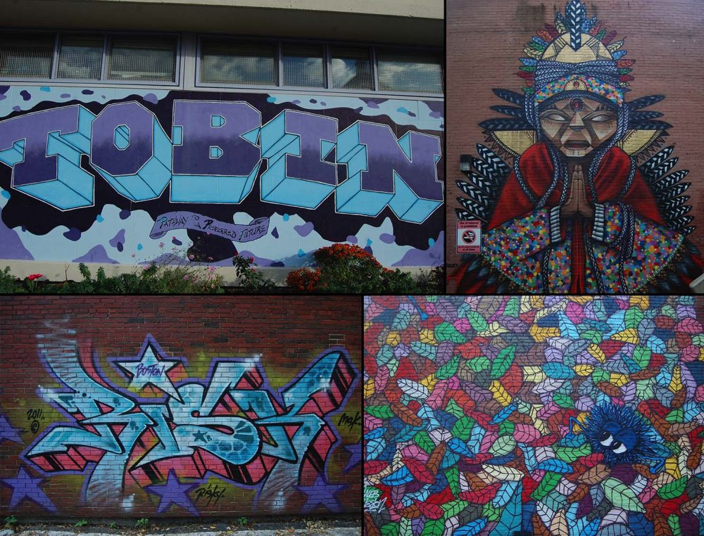 "Graffiti murals, clockwise from top left, by: unknown; Victor ""Marka27"" Quiñonez and Caleb Neelon; Neelon; and Risky. (Greg Cook/WBUR)"