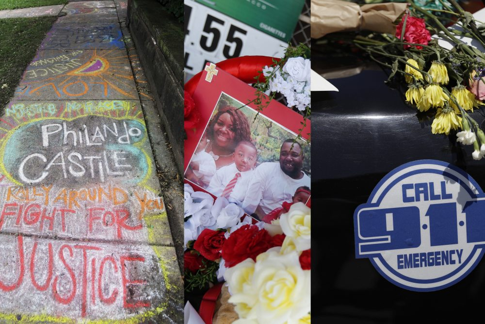 A chalk tribute to Philando Castile, photos of Alton Sterling at a makeshift memorial, and flowers rest on a patrol car at Dallas police headquarters. (Jim Mone, Gerald Herbert, Eric Gay/AP)