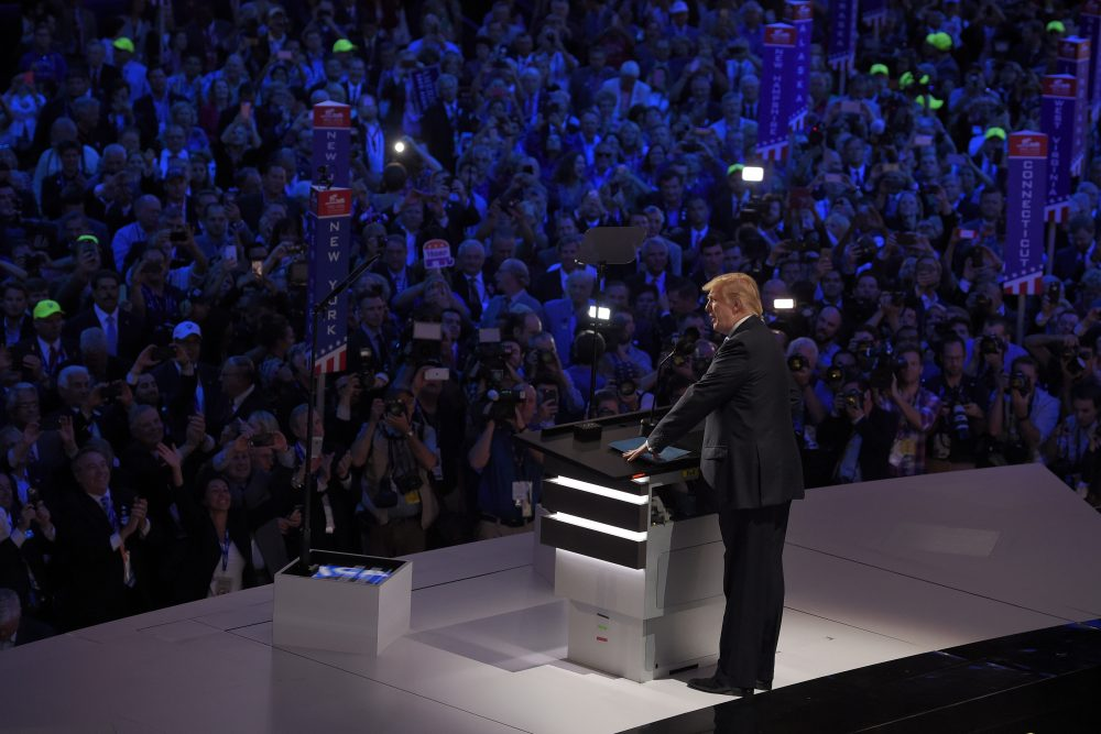 Republican presidential candidate Donald Trump takes the stage at the Republican National Convention in Cleveland Monday night to introduce his wife, Melania. (Mark J. Terrill/AP)