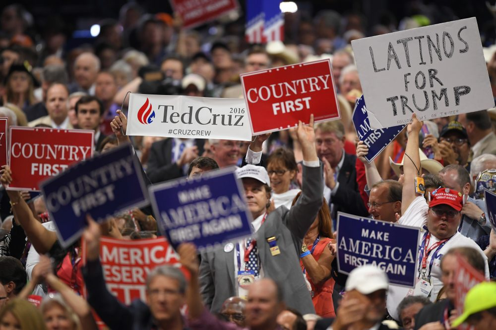 A Ted Cruz supporter holds a sign during his speech. (Mark J. Terrill/AP)