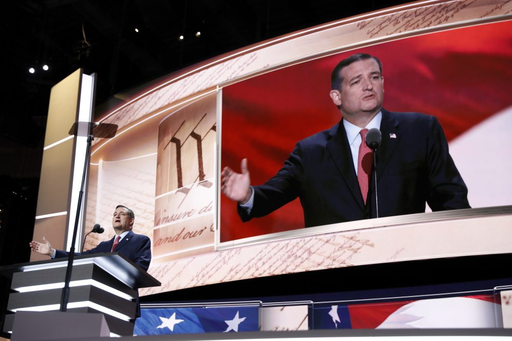 Sen. Ted Cruz addressed the delegates during the third day session of the Republican National Convention. (Mary Altaffer/AP)