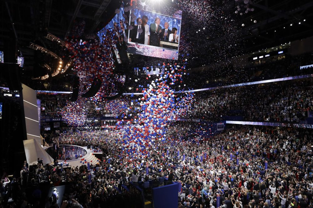 The balloons fall after Trump's speech accepting the GOP nomination for president. (John Locher/AP)