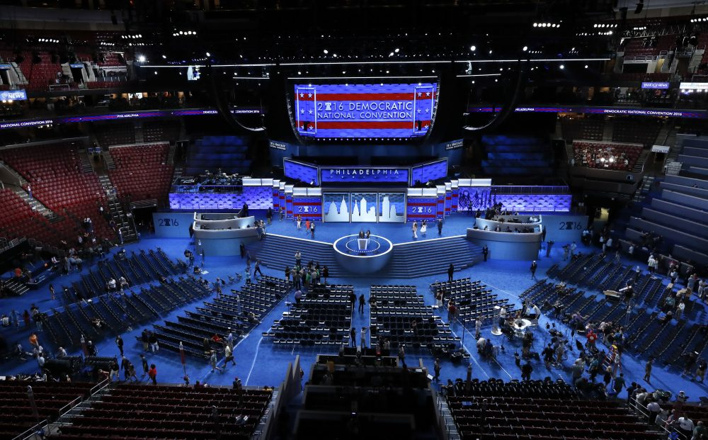 Workers prepare for the Democratic National Convention in Philadelphia. (Paul Sancya/AP)