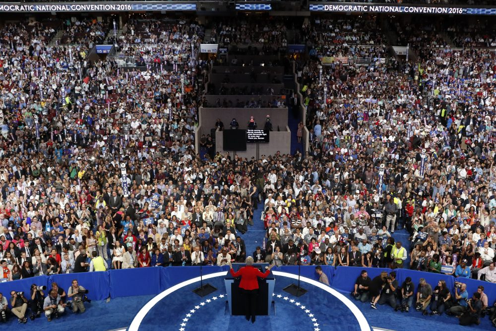 Sen. Elizabeth Warren speaks during the first day of the Democratic National Convention in Philadelphia. (Mary Altaffer/AP)