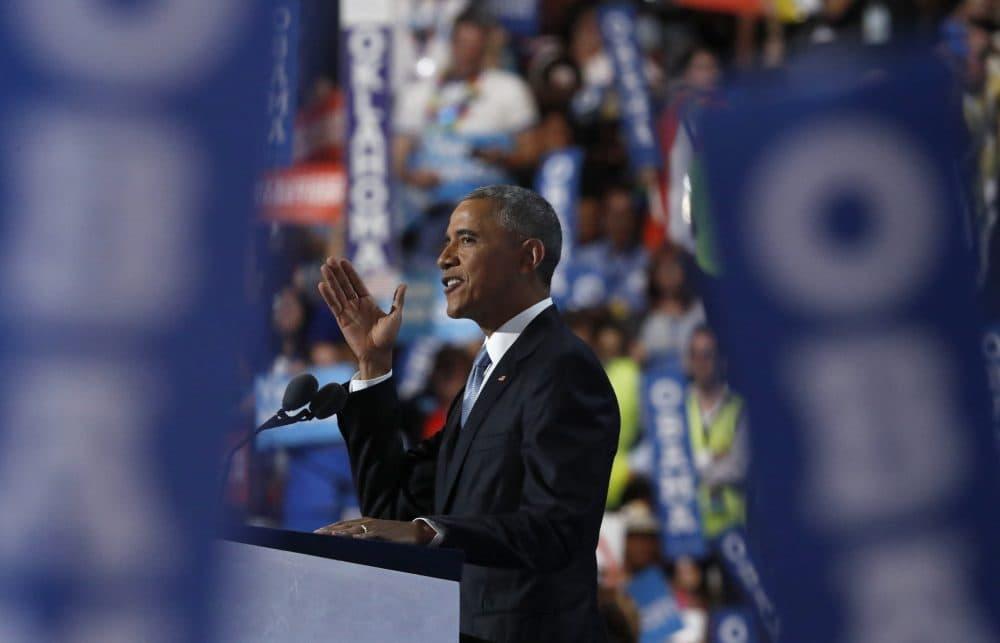 President Obama speaks Wednesday night at the DNC. (Paul Sancya/AP)