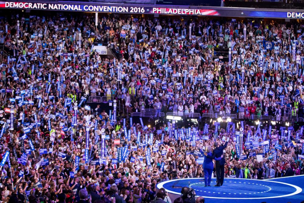 President Barack Obama and Democratic presidential candidate Hillary Clinton on stage at the DNC. (Andrew Harnik/AP)