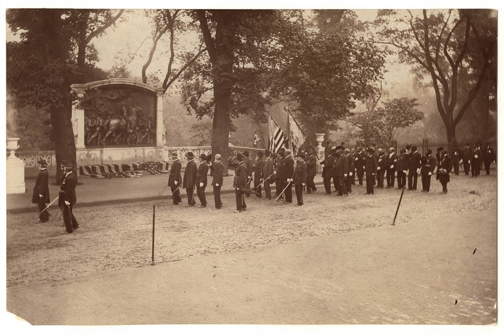 Veterans of the 54th Massachusetts Regiment march past the Shaw Memorial during 1897 dedication ceremonies. (Courtesy of the Massachusetts Historical Society)