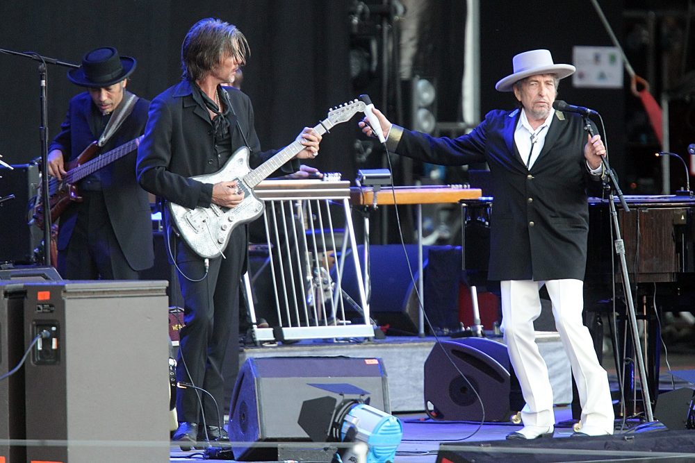 Bob Dylan and his band perform in France in 2012. (David Vincent/AP)