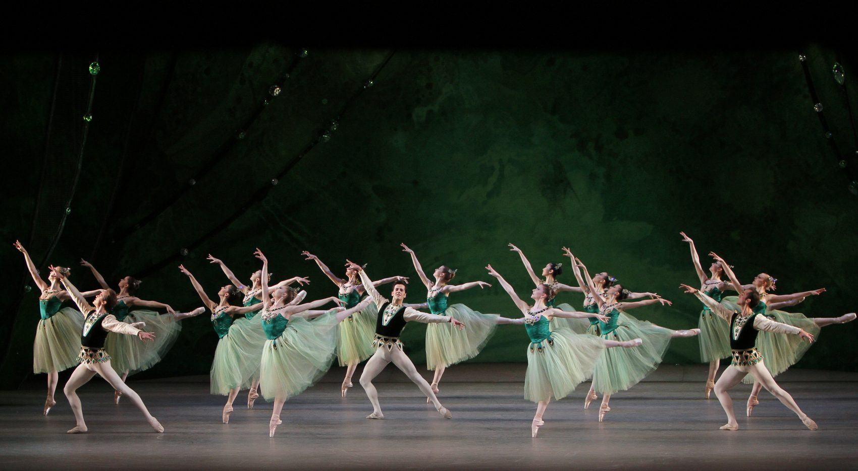 """New York City Ballet dancers Jonathan Stafford, Sara Mearns, Robert Fairchild, Abi Stafford, and Jared Angle in """"Emeralds"""" from """"Jewels."""" (Courtesy of  Paul Kolnik)"""