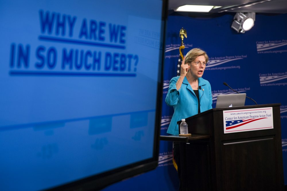 """Alex Green: """"Revolution may be off the agenda at the DNC, but it may yet take hold in Washington, led by another star in the progressive firmament: Elizabeth Warren."""" Pictured: Sen. Elizabeth Warren, D-Mass., speaks to the Center of American Progress Action Fund, Wednesday, July 13, 2016, in Washington. (Evan Vucci/AP)"""