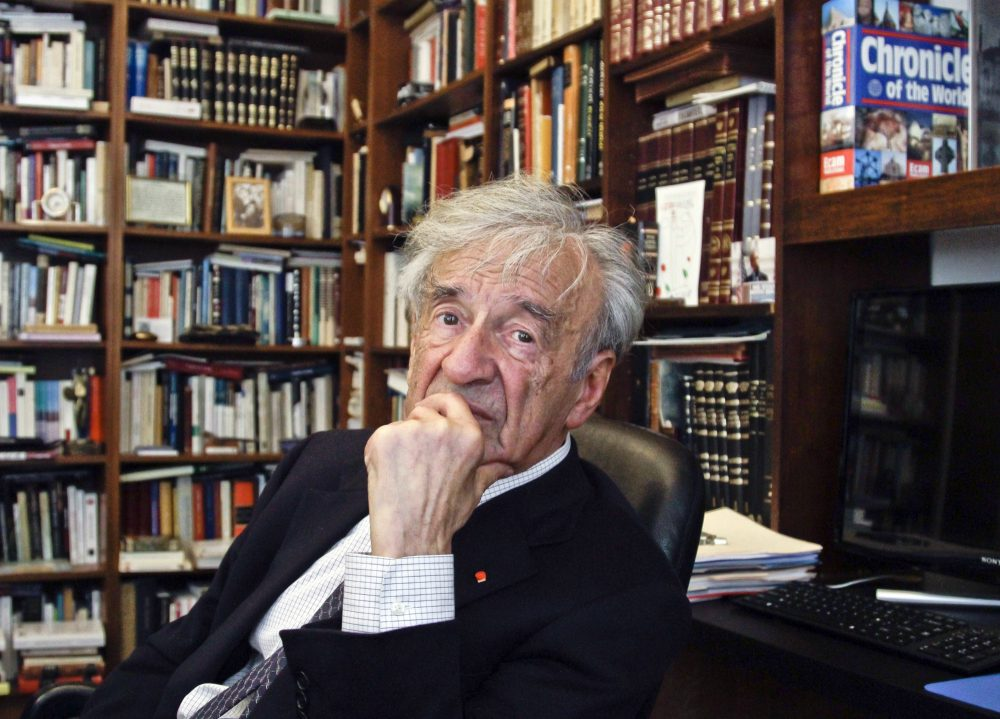 """Alex Green: """"Six million of our souls went up over Europe during the Holocaust. With """"Night,"""" Elie Wiesel returned to us one slim, howling tribute testifying to the fact of their existence."""" In this Sept. 12, 2012, photo Elie Wiesel is photographed in his office in New York. Wiesel, the Nobel laureate and Holocaust survivor, died Saturday, July 2, 2016 at the age of 87. (Bebeto Matthews/AP)"""