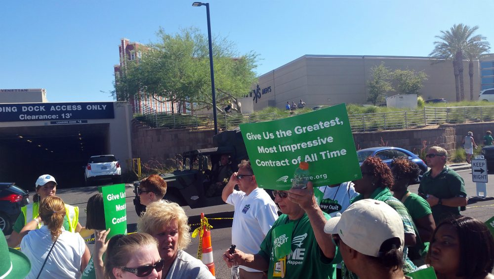 Thomas A. Kochan writes that, since the New Deal, a core principle of American labor policy is that workers should have the right to be their own, independent voice at work. So why isn't that the case? Pictured: Members of the American Federation of State, County and Municipal Employees march on the Las Vegas Strip July 20, 2016, to urge management at Republican presidential nominee Donald Trump's hotel to negotiate a contract with workers. (Michelle Rindels/AP)