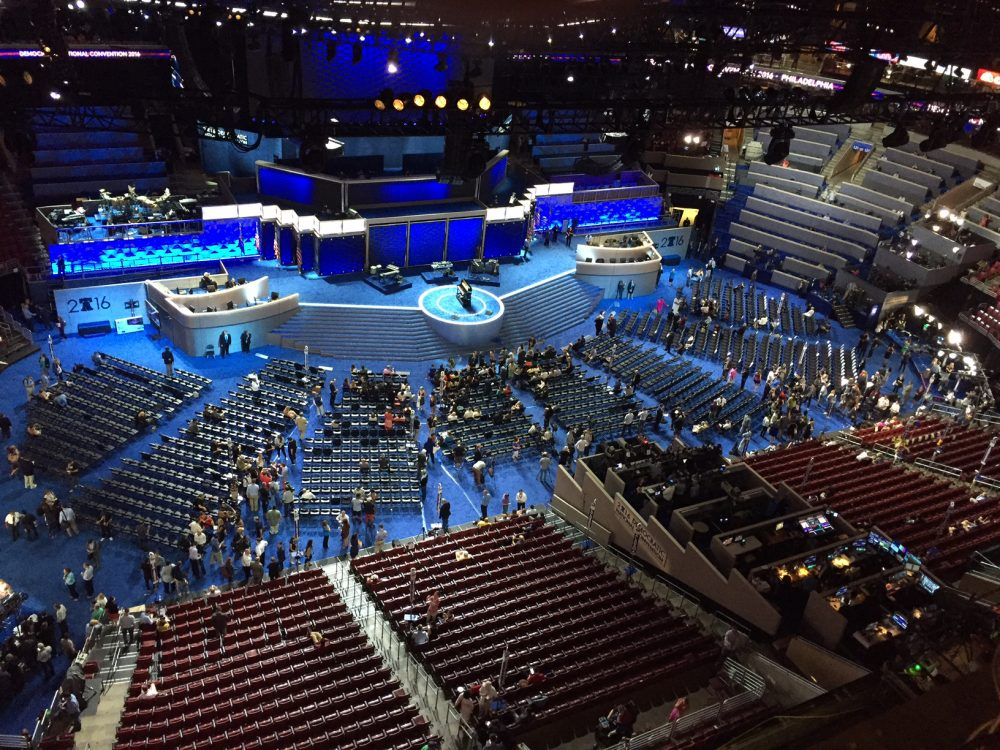 The view from above the Democratic National Convention floor at the Wells Fargo Center in Philadelphia on Tuesday afternoon. (Anthony Brooks)