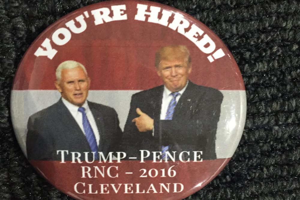 The Trump/Pence 2016 Ticket is the latest addition to Karen Shiffman's extensive political button collection. (Karen Shiffman/WBUR)