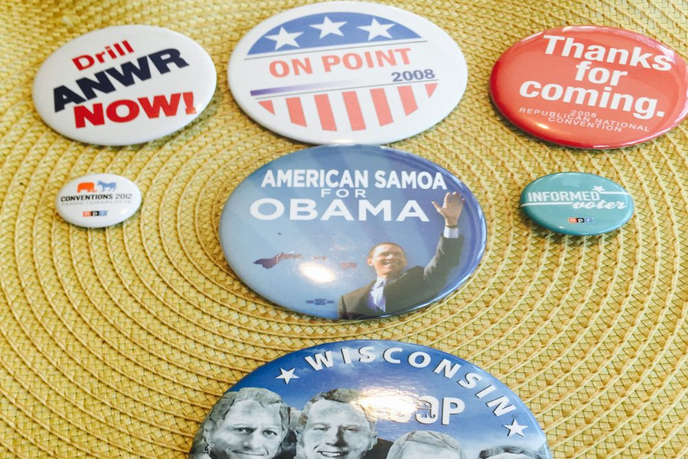 A collection of campaign buttons from On Point executive producer Karen Shiffman's personal collection. (Karen Shiffman/WBUR)