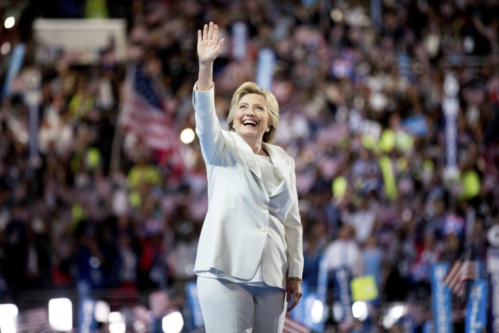 Democratic presidential candidate Hillary Clinton waves to the crowd as she takes the stage to speak during the fourth day session of the Democratic National Convention in Philadelphia on July 28. (Andrew Harnik/AP)