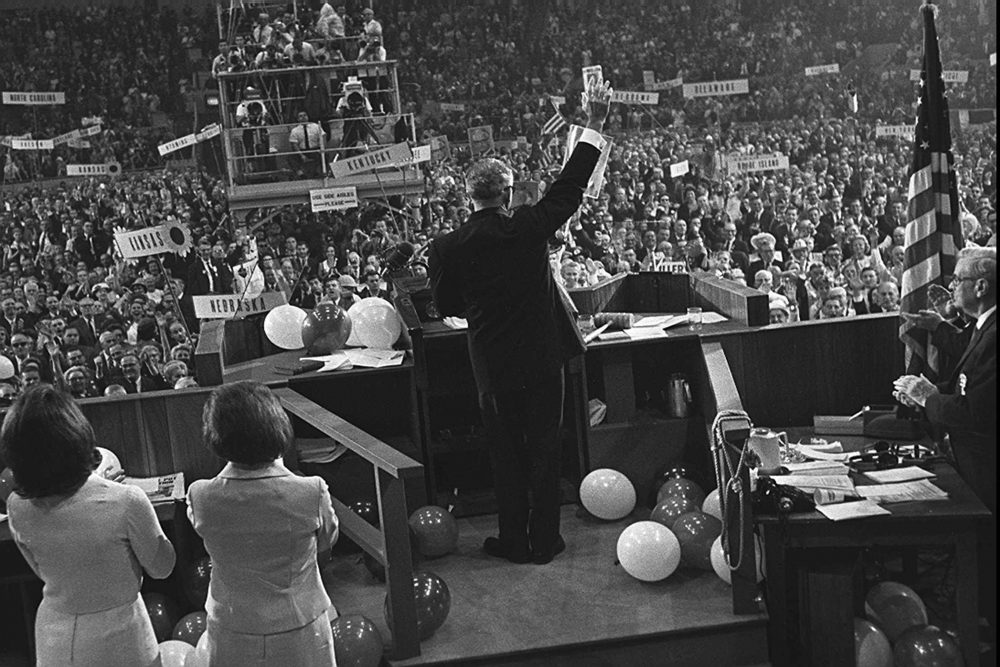 Arizona Senator Barry Goldwater waves to delegates at the Republican National Convention in San Francisco, July 16, 1964. (AP Photo)