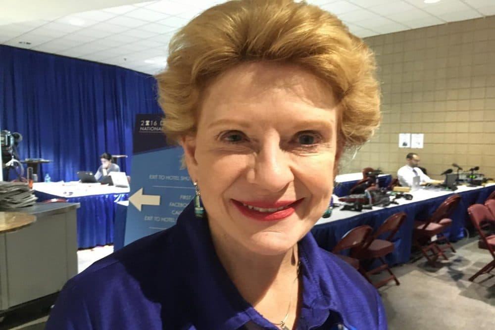 Sen. Debbie Stabenow (D-MI) at the WBUR section of the Democratic National Convention's Radio Row in Philadelphia. (Alex Ashlock/WBUR)