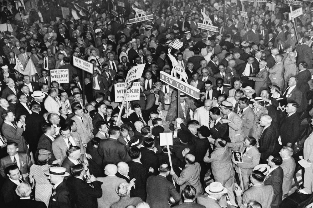 Demonstration which followed the placing of Wendell Wilkie in nomination for the Presidency in Philadelphia June 26, 1940 shows the battle which developed as Willkie adherents in the New York delegation tried to take the New York banner into the parade and Dewey friends to keep it out. (AP)