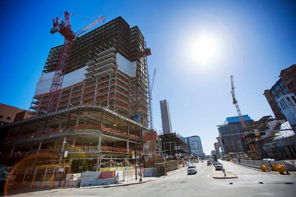 Construction along Seaport Blvd. in South Boston. (Jesse Costa/WBUR)