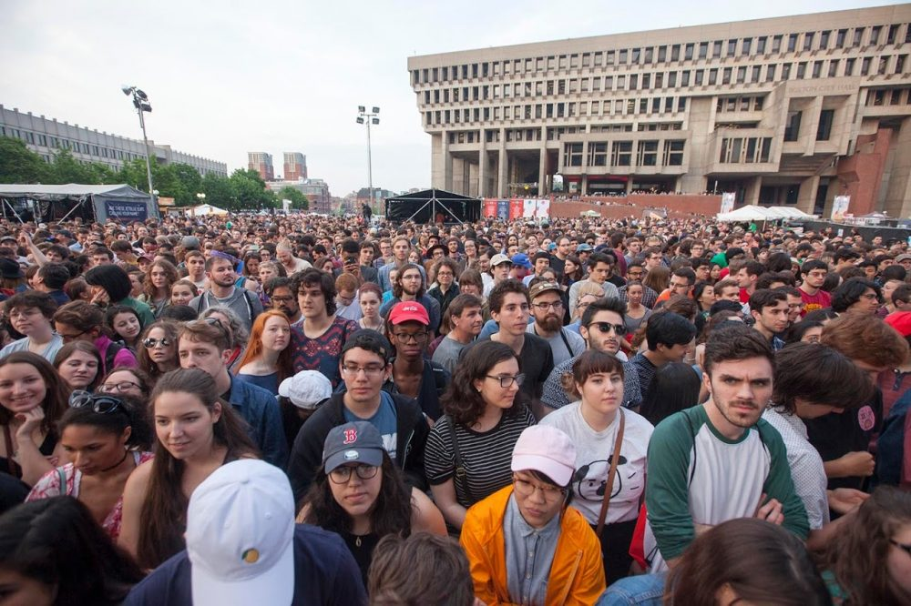 A crowd at the Boston Calling music festival is pictured in May 2016. (Joe DiFazio for WBUR)