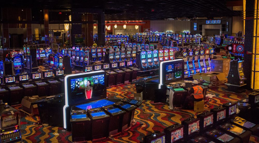 Plainridge Park, pictured here last year before opening,  collected nearly $180 million in gambling revenues in its first year of operation. The profits mean that Plainridge will have generated over $88 million for the state in terms of taxes and other assessments. (Jesse Costa/WBUR)
