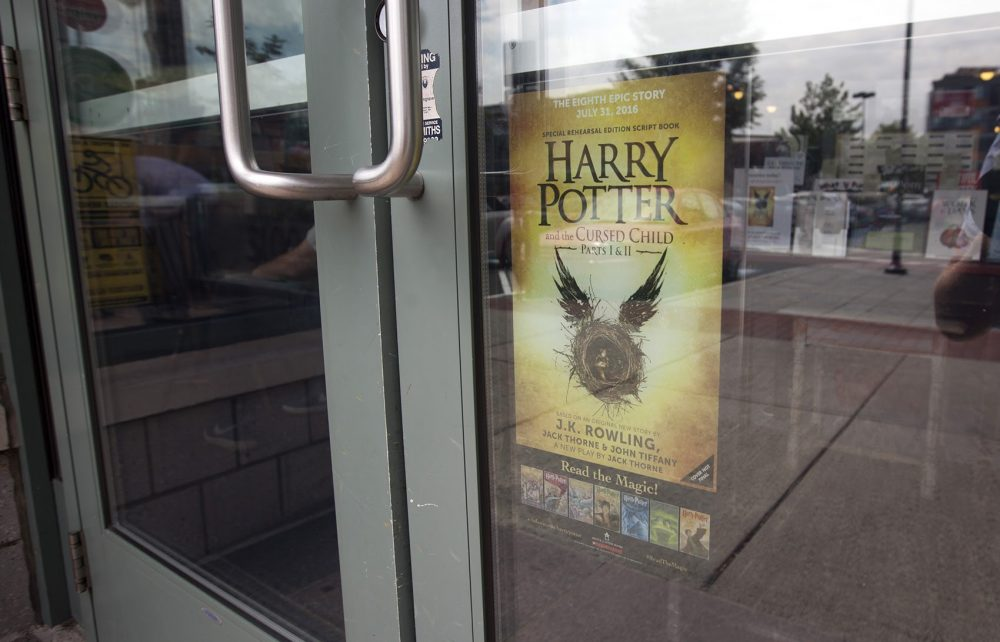 "Porter Square Books celebrated the release of ""Harry Potter and the Cursed Child"" Saturday night. (Joe Difazio for WBUR)"