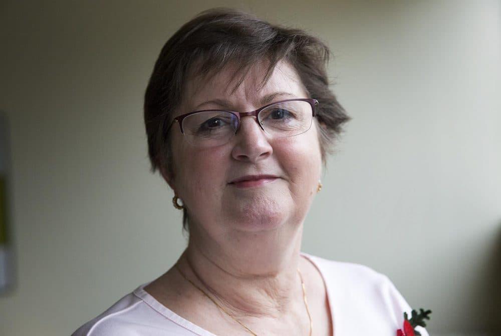 Alma Hart, whose son John died in Iraq, at WBUR (Robin Lubbock/WBUR)