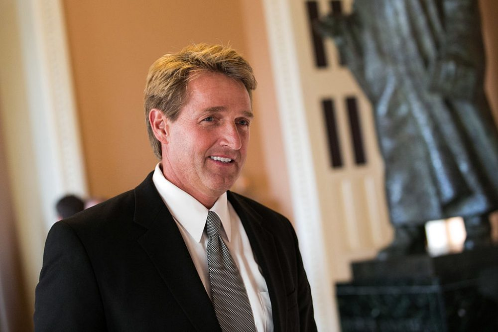 Sen. Jeff Flake (R-AZ) walks to a Senate joint caucus meeting, on Capitol Hill, July 15, 2013 in Washington, DC.   (Drew Angerer/Getty Images)