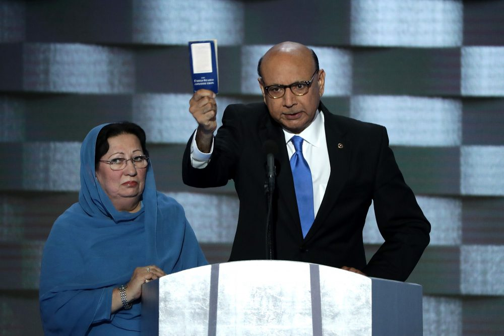 Khizr Khan, father of deceased Muslim U.S. Soldier Humayun S. M. Khan, holds up a booklet of the US Constitution as he delivers remarks on the fourth day of the Democratic National Convention at the Wells Fargo Center, July 28, 2016 in Philadelphia, Pennsylvania. (Alex Wong/Getty Images)