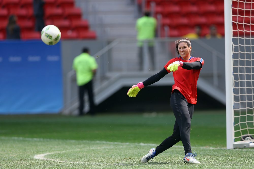"""Goalkeeper Hope Solo was banned from the USWNT for six months for calling the Swedish national team """"a bunch of cowards."""" (Celso Junior/Getty Images)"""