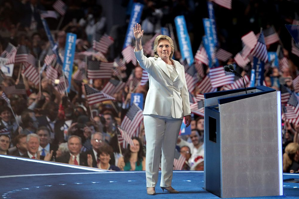 Democratic presidential nominee Hillary Clinton waves to the crowd as she arrives on stage during the fourth day of the Democratic National Convention at the Wells Fargo Center, July 28, 2016 in Philadelphia. (Drew Angerer/Getty Images)