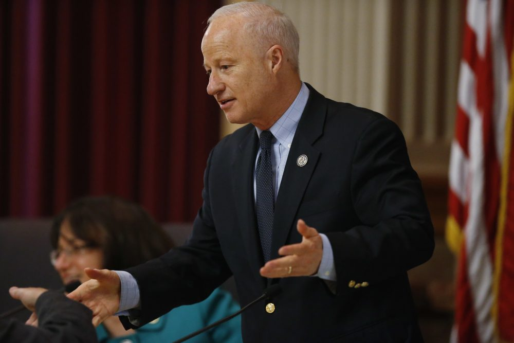 U.S. Rep. Mike Coffman, R-Colo, talks to witnesses during a House Veterans Affairs subcommittee field hearing on VA hospitals and prescription drugs for veterans Friday, May 20, 2016, in the State Capitol in Denver. (David Zalubowski/AP)