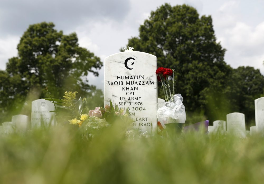 The tombstone of U.S. Army Capt. Humayun S. M. Khan is seen in  Arlington National Cemetery on Monday, Aug. 1, 2016. (Carolyn Kaster/AP)
