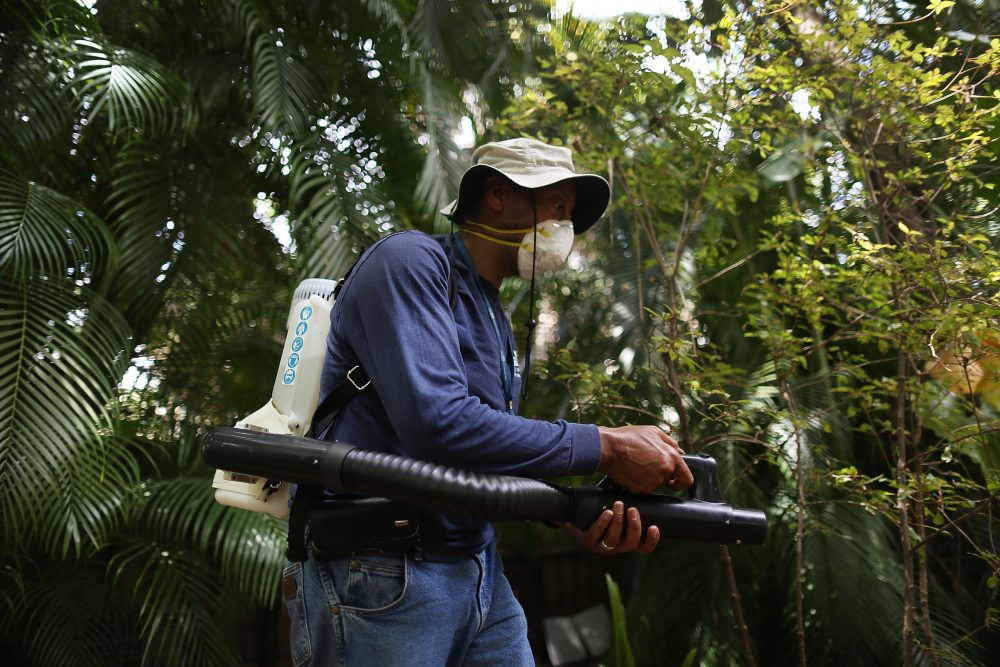 Larry Smart, a Miami-Dade County mosquito control inspector, uses a fogger to spray pesticide to kill mosquitos in the Wynwood neighborhood as the county fights to control a Zika virus outbreak on Aug. 1, 2016 in Miami, Florida. (Joe Raedle/Getty Images)