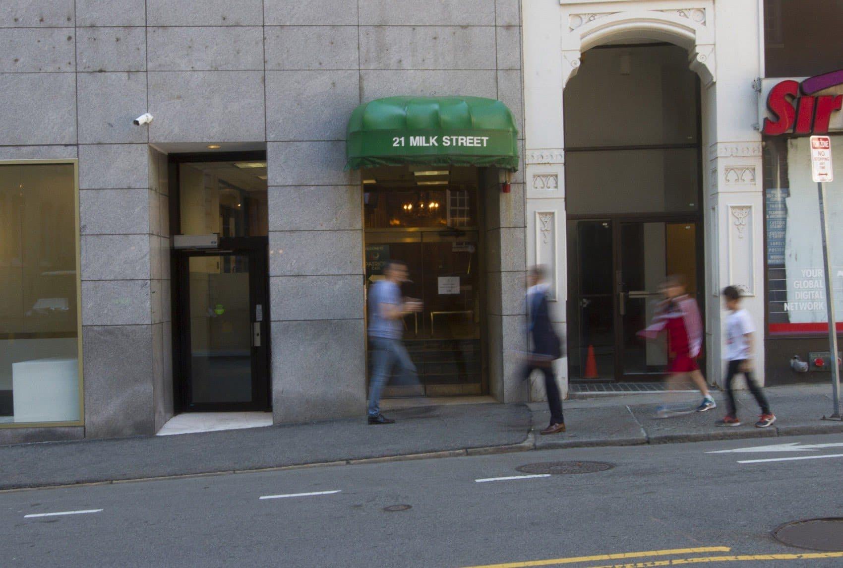The outside of Boston's first medical marijuana dispensary at 21 Milk St. (Joe Difazio for WBUR)