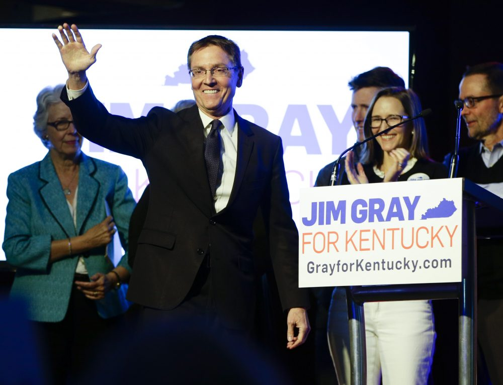 Lexington Mayor Jim Gray waves  to his supporters after election night results came in during his campaign for US Senate  on Tuesday, May 17, 2016, in Lexington, Kentucky. (Mark Cornelison/Lexington Herald-Leader via AP)