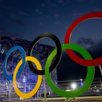 A set of newly installed Olympic Rings are seen outside the swimming venue at  Olympic Park ahead of the Rio 2016 Olympic Games on Aug. 2, 2016 in Rio de Janeiro, Brazil. (Chris McGrath/Getty Images)
