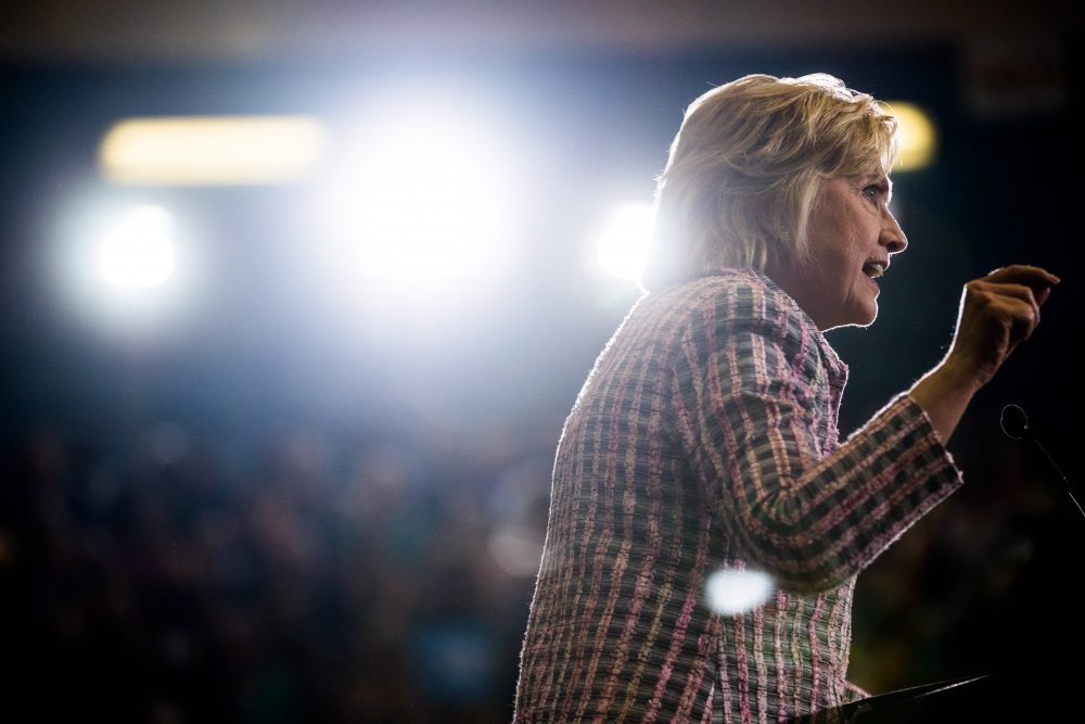 Democratic presidential candidate Hillary Clinton speaks at a rally at Omaha North High Magnet School in Omaha, Nebraska, Monday, Aug. 1, 2016. (Andrew Harnik/AP)