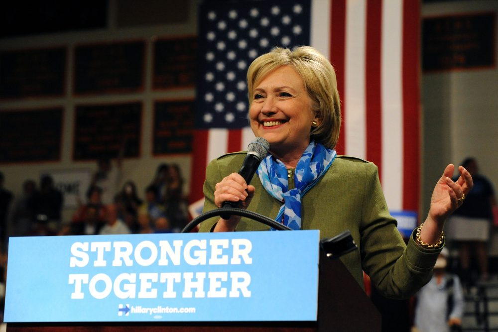 Democratic presidential nominee Hillary Clinton addresses supporters during her campaign stop at Adams City High School in Commerce City, Colorado on August 3, 2016. (Jason Connolly/AFP/Getty Images)
