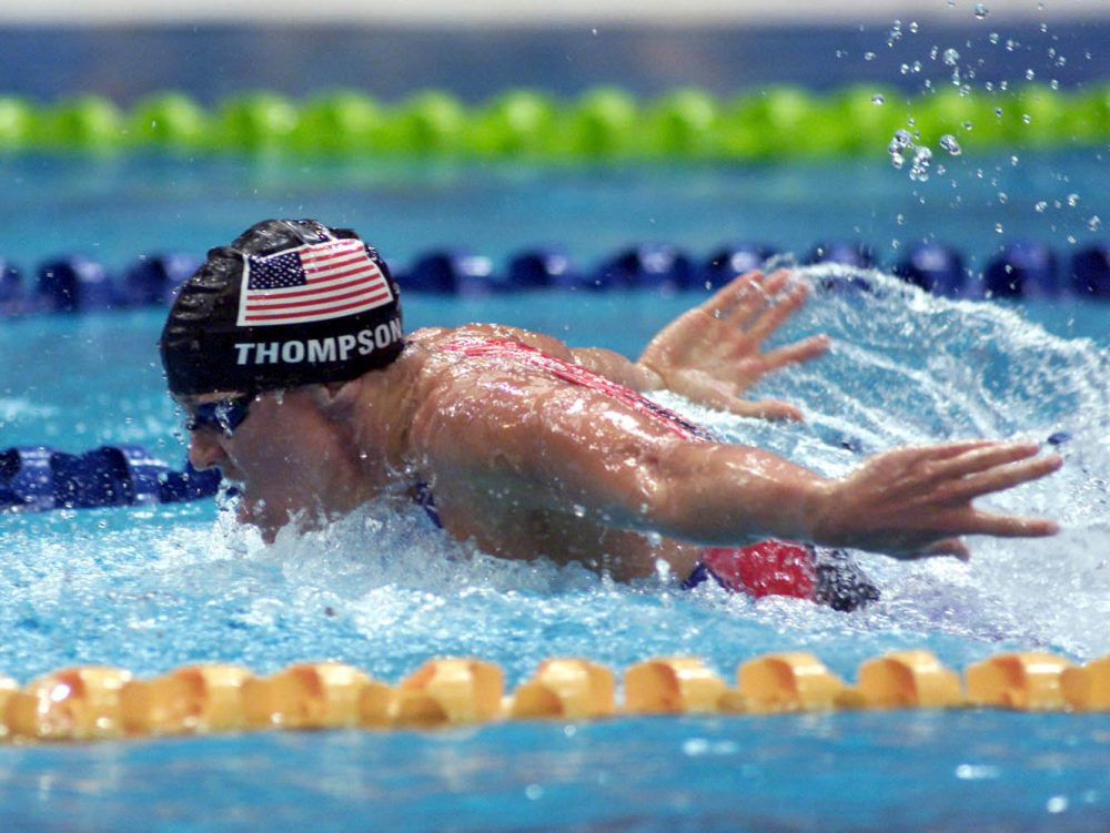 Jenny Thompson of USA in action during the Women's 4x100 Medley Relay Final at the Sydney 2000 Olympic Games in Sydney Australia. (Hamish Blair/Allsport via Getty Images)