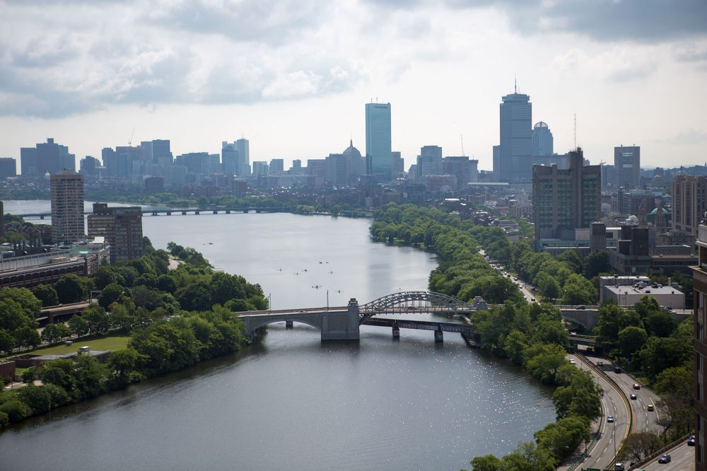 A new analysis shows just how little apartment you can get in Boston for $1,500. Here, Boston's skyline is seen in 2015. (Jesse Costa/WBUR)
