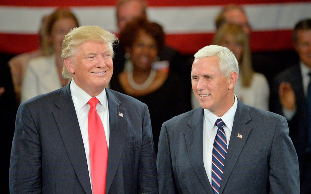 Republican presidential candidate Donald Trump (L) and Republican vice presidential candidate Mike Pence listen to cheers from the audience at the The Hotel Roanoke & Conference Center on July 25, 2016 in Roanoke, Virginia. (Sara D. Davis/Getty Images)